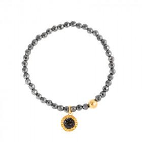 Bracelets perles facettes Hématite rond noir