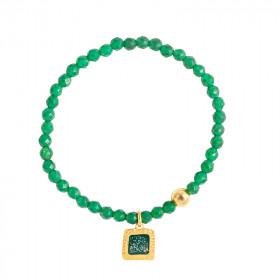 Bracelets perles facettes Agate verte et carré vert