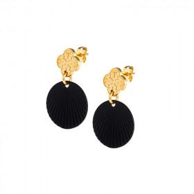 Boucles d'oreilles Trèfle noir simple